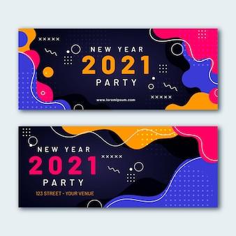 Banners de festa plana de ano novo de 2021