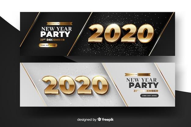 Banners de festa realista ano novo 2020