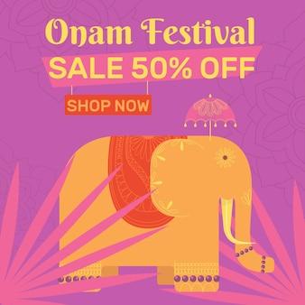 Banners de festival onam plana