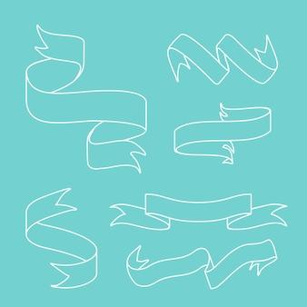 Banners de fita doodle estilo conjunto vector
