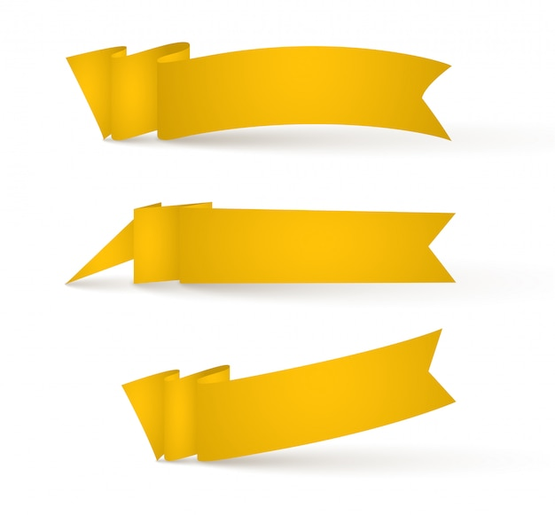 Banners de fitas amarelas. conjunto de sinais de publicidade.