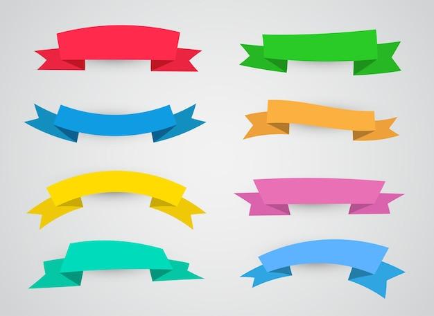 Banners de fitas coloridas modernas