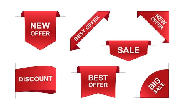 Banners de fitas de venda em vermelho. ilustração vetorial eps 10