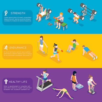 Banners de fitness. banner de academia de ginástica de exercícios esportivos