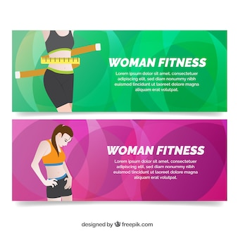 Banners de fitness com fundos abstratos