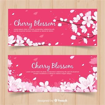 Banners de flor de cerejeira