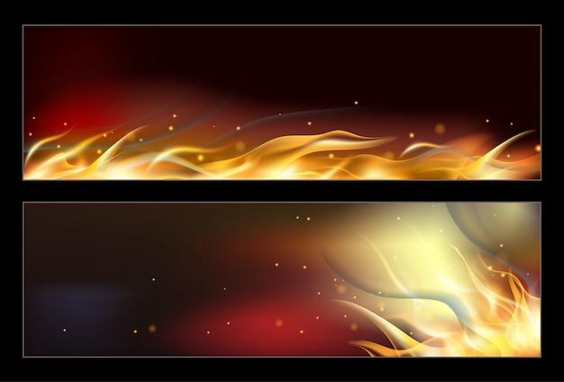 Banners de fogo quente conjunto com chamas laranja