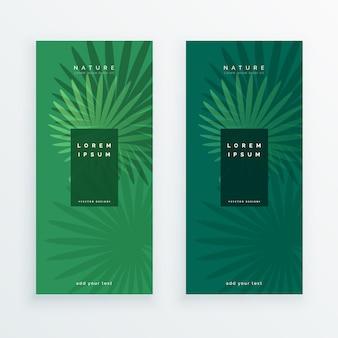 Banners de folhas na cor verde