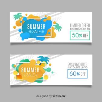 Banners de forma líquida de venda de verão