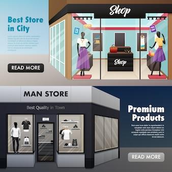 Banners de frente de loja de moda