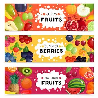 Banners de frutas e bagas