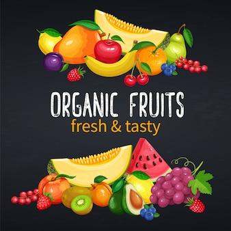 Banners de frutas e bagas.