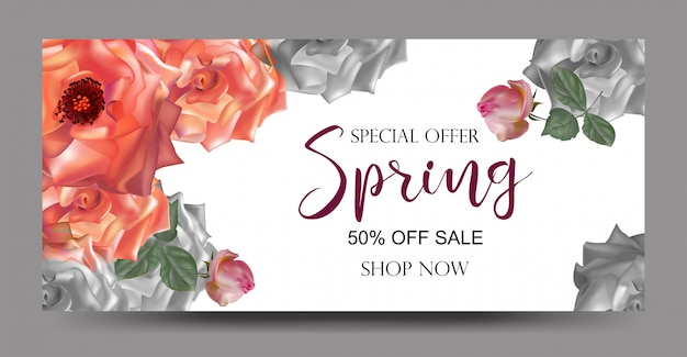 Banners de fundo de venda de primavera