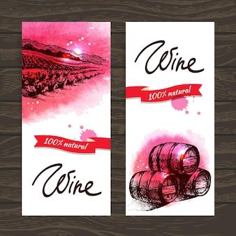Banners de fundo vintage vinho. ilustrações em aquarela feitas à mão
