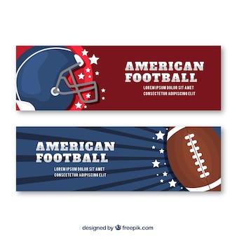 Banners de futebol americano com capacete e bola no design plano