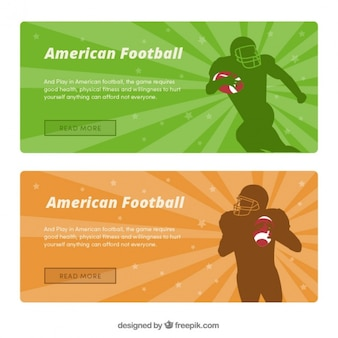 Banners de futebol americano com silhuetas de jogadores