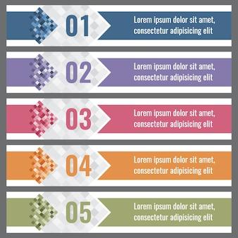 Banners de gradiente de pixel com opções
