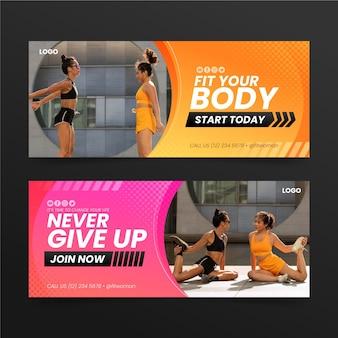 Banners de gradiente fitness club com modelo de foto