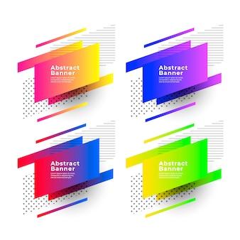 Banners de gradientes abstratas com formas geométricas
