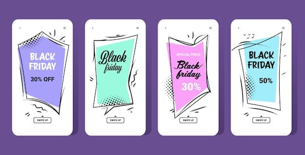 Banners de grande venda coleção de black friday oferta especial marketing promocional compras natalinas