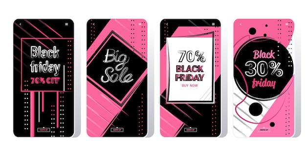Banners de grande venda coleção de black friday oferta especial marketing promocional compras natalinas