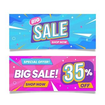 Banners de grandes vendas abstratos e planos
