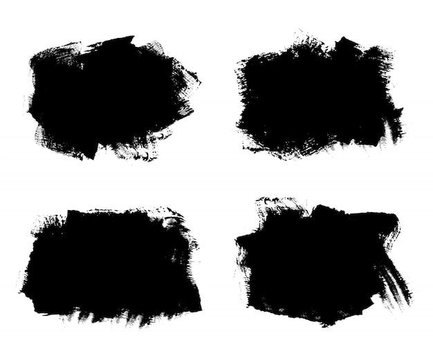 Banners de grunge abstrato preto