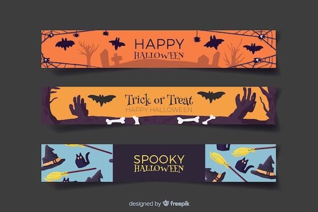 Banners de halloween aquarela cemitério e bruxaria