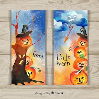 Banners de halloween bonito pintados à mão em estilo aquarela