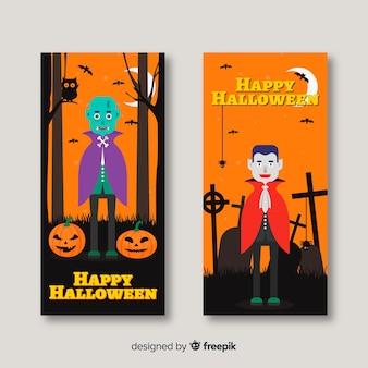 Banners de halloween clássico com design liso