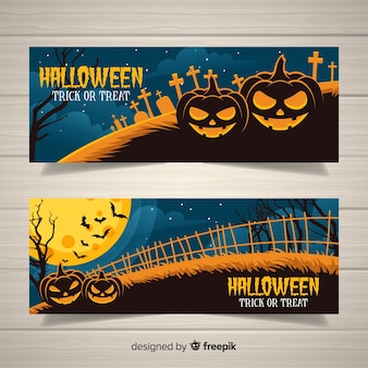 Banners de halloween clássico com estilo vintage