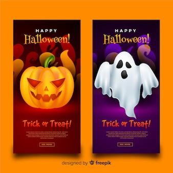 Banners de halloween com abóbora e fantasmas