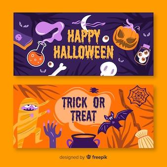 Banners de halloween com abóbora e monstros