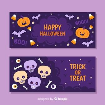 Banners de halloween com abóboras e caveiras