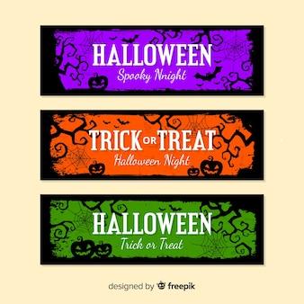 Banners de halloween com abóboras em cores