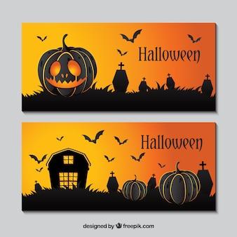 Banners de halloween com abóboras