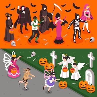 Banners de halloween com adultos e crianças usando fantasias de festa de criaturas boas e más