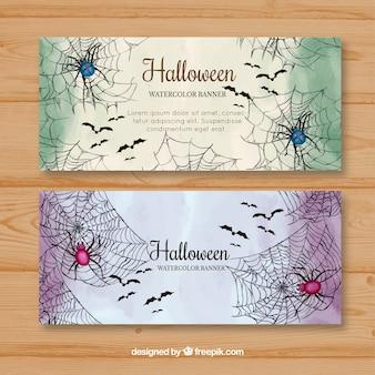Banners de halloween com aranhas de aquarela