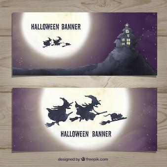 Banners de halloween com bruxas de aquarela Vetor grátis