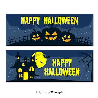 Banners de halloween com casa e abóboras