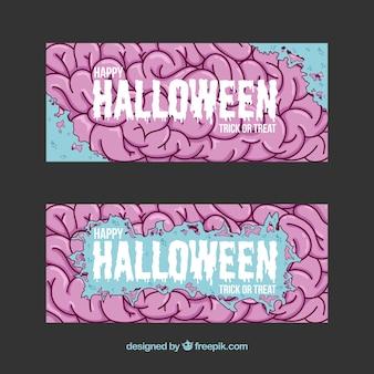 Banners de halloween com cérebro desenhado mão