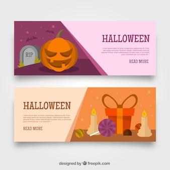 Banners de halloween com elementos em design plano