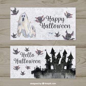Banners de halloween com estilo aquarela