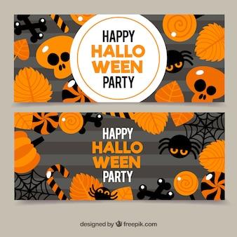 Banners de halloween com estilo outonal