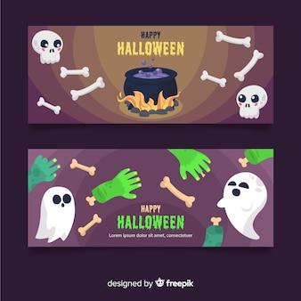 Banners de halloween com fantasmas e caveiras