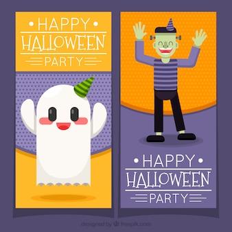 Banners de halloween com fantasmas e zombis felizes