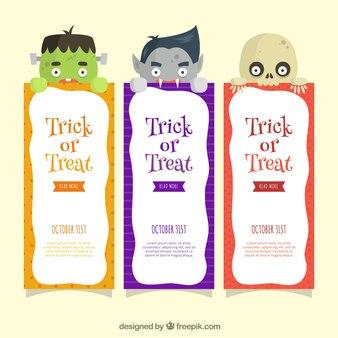 Banners de halloween com monstro adoráveis