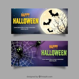 Banners de halloween com morcegos e aranhas