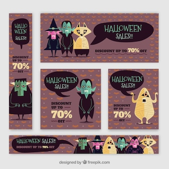 Banners de halloween com personagens