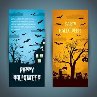 Banners de halloween com uma casa mal-assombrada no cemitério noturno